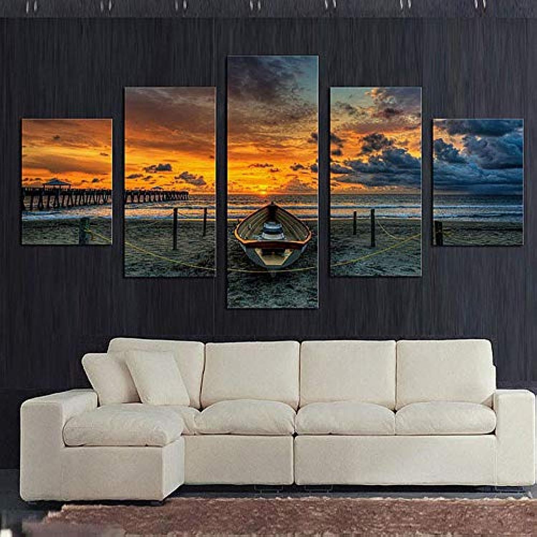 descuentos y mas Mmwin HD Marco de Decoración para el hogar Pintura Pintura Pintura de la Lona Poster 5 Panel Sunset Paisaje Marino Y Barco Moderno Arte de Parojo Sala de Estar Impreso imágenes  Mejor precio