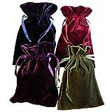 Tarot Rune Bag Bundle of 4 - One of Each Color : Moss Green, Navy Blue, Purple, Wine 4' by 6' Velvet Bags