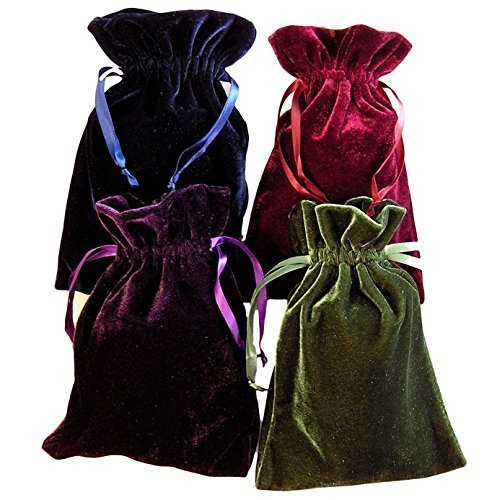 Tarot Rune Bag Bundle of 4 - One of Each Color : Moss Green, Navy Blue, Purple, Wine 4' by 6' Velvet Bags