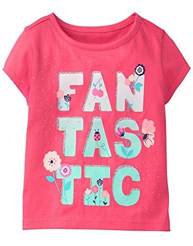 Gymboree Girls' Toddler Short Sleeve Glitter Graphic TEE, Fantastic, 2T