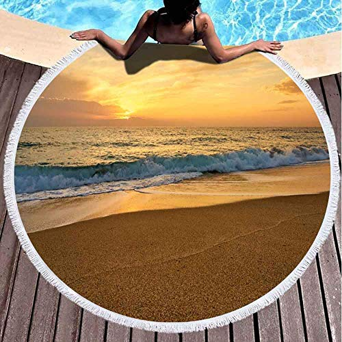 Toallas de playa para mujeres, toallas de playa Toalla de playa personalizada Puesta de sol colorida La playa tropical Olas Espuma golpeando la arena Espacio para copiar 59 pulgadas Toalla de playa