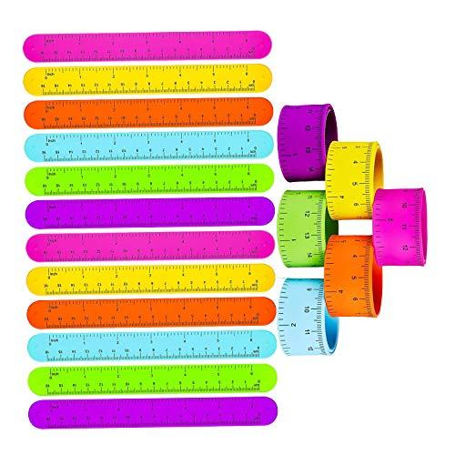YuuHeeER Ruler Slap - Pulseras de muñeca en brazaletes de colores para niños, 24 piezas
