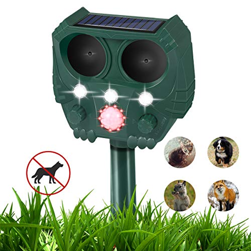 Ultrasonic Dog Repellent, Ultrasonic Animal Repellent with Owl Shape, Solar Repellent Ultrasonic Animal with Motion Sensor and Flashing Lights Outdoor Waterproof Repellent for Cats, Dogs, and More