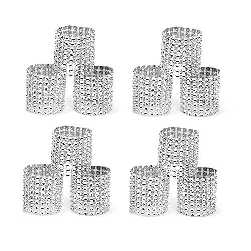 QUUPY 20 anillos de servilletero brillantes plateados para fiestas y decoración de mesa