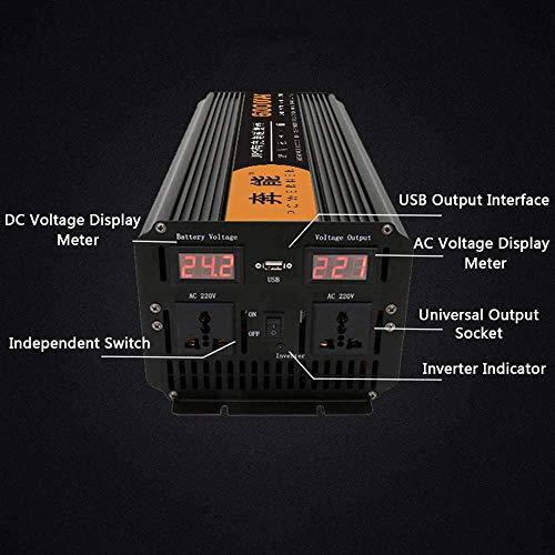 Pure Sine Wave Power Inverter 2200W/3200W/4000W/6000W/8000W/12000W, Voltage Converter DC 12V/24C to AC 200V~240V, Car Inverter with 2 AC Outlets and Dual LED Digital Display, 12V to 220V, 6000W