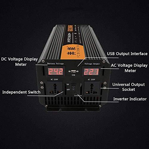 Modified Sine Wave Power Inverter 2200W/3200W/4000W/6000W/8000W/12000W, Voltage Converter DC 12V/24V/48V to AC 220V~240V, Car Inverter with 2 AC Outlets and Dual LED Digital Display, 12V to 220V,6000W