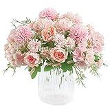 Haude - Ramo de hortensias artificiales de seda de peonía artificial, decoración de claveles de plástico, arreglos de flores realistas para decoración de bodas, centros de mesa, 2 paquetes (rosa)