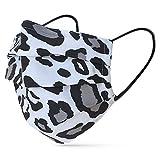 tanzmuster ® Gesichtsmaske für Kinder - Stoffmaske mit Nasenbügel und Filtertasche - Alltagsmaske waschbar - 100% Baumwolle OEKO-TEX Standard 100. Hauchdünn 11-Leoprint-schwarz-weiß S