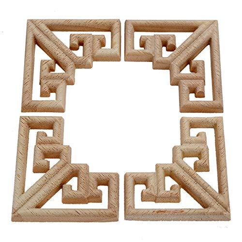 4 piezas de madera tallada molduras de esquina Onlay apliques muebles artesanales sin pintar 6,5 cm