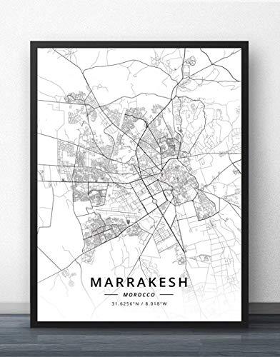 Cuadro Sobre Lienzo,Marruecos Marrakech Ciudad Mapa Pared Imágenes Cartel De Carteles Blanco Negro Imprimes Arte Pinturas De Arte Murales Pop Obras De Arte Para La Habitación Sala De Estar Decoraci