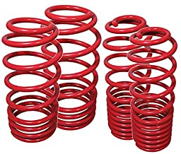 Fit 2010-2015 Chevy Camaro (V8 Engine Only) Suspension Lowering Spring Red (Front -1.0 inch/Rear -1.0 inch Drop)