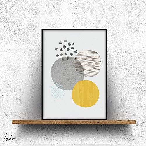 Geanimeerde abstracte mosterd en grijze vormen muurdruk - Modern Wall Art Picture Poster Home Decor Poster - Klein, middelgroot en groot kunstwerk in meerdere maten 4