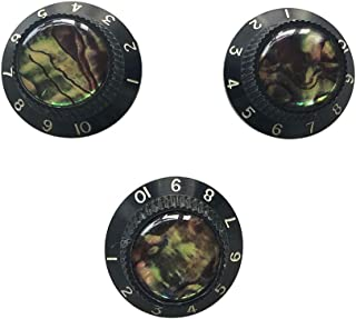 "Guyker Electric Guitar Abalone Top Knobs Speed Volume Tone Control Knobs with 6mm (0.24"") Dia. Shaft Pots Compatible with Les Paul LP Style Electric Guitar Parts Replacement Set of 3Pcs.(Black)"