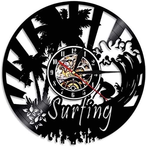 Reloj de Pared de Vinilo Reloj de Registro Reloj de Surf Vintage Reloj de Pared de Cuarzo silencioso Reloj de Pared Hecho a Mano Regalos Personalizados Luminosos para niños y Adultos