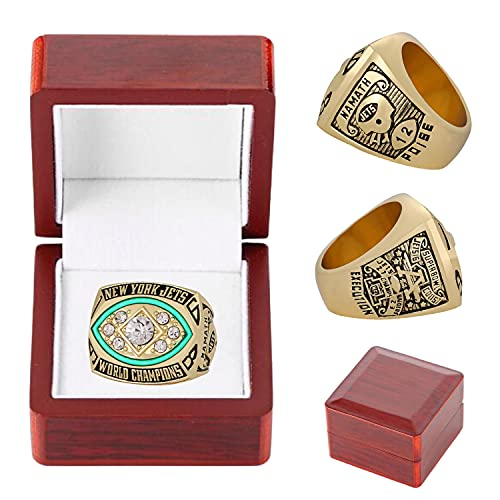 1968 'Jets Football Champions Rings with Box Replica dell'anello del campionato del mondo Collezione di appassionati di sport Souvenir regalo per giovani uomini e bambini - (taglia 11#)