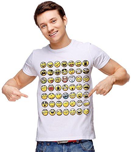 Retreez Funny Humor Smiley Emoticon Emoji Graphic Printed Unisex Men/Boys/Women T-Shirt Tee - White - Medium