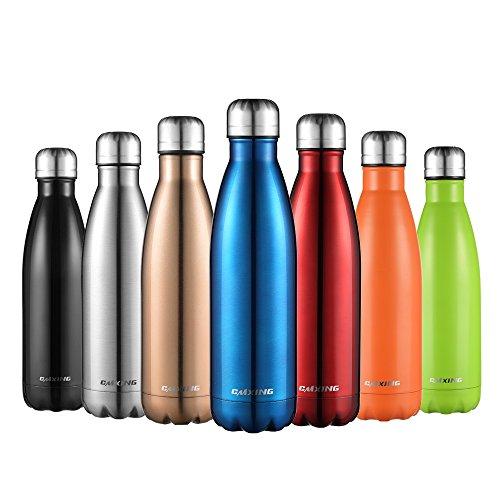cmxing Doppelwandige Thermosflasche 500 mL mit Tasche BPA-Frei Edelstahl Trinkflasche Vakuum Isolierflasche für Outdoor-Sport Camping Mountainbike (Blau, 500 mL)