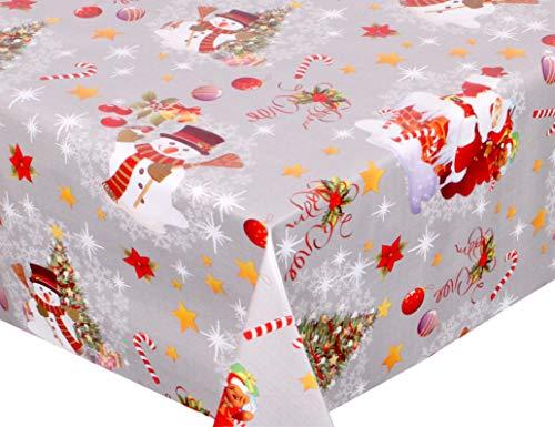 BEAUTEX Mantel de Hule Lavable, Redondo, Cuadrado, diseño de Navidad y tamaño a Elegir, PVC, Schneemann-Silber,...