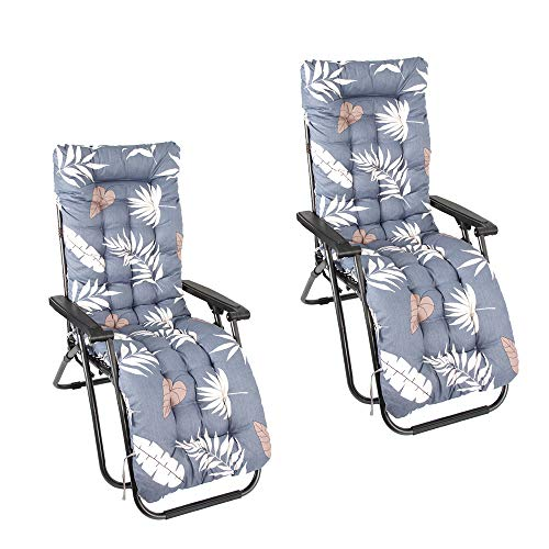 Sun Lounger Cushions, Replacement Sunbed Cushion, Portable Garden Patio Thick Padded Bed Recliner Relaxer Chair Seat Cover for Travel Holiday Garden Indoor Outdoor,no chairs (2 pcs)