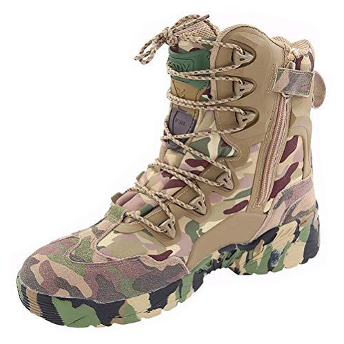 LiliChan Männer 8 Zoll Reißverschluss Taktische Stiefel Armee Stiefel Camouflage (44)