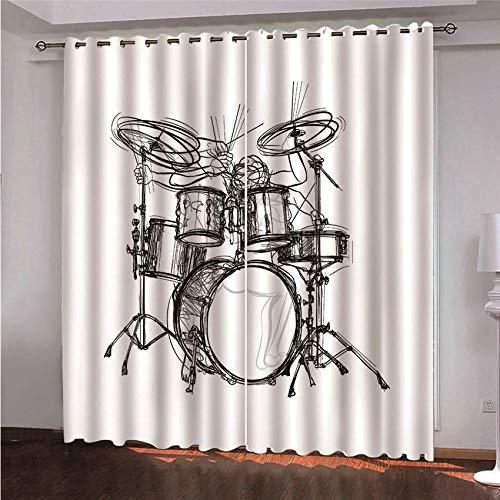 BLZQA Blickdichte Vorhänge Ösenvorhang Musik-Schlagzeug Verdunkelungsvorhänge geeignet für Schlafzimmer Wohnzimmer Schalldämmung Thermisch energiesparende Vorhänge 110 cm x 215 cm x 2