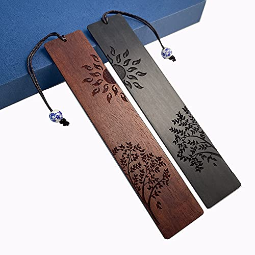 IOULOVE Natural Wood Bookmark, Unique Wooden Bookmark Set Gift for Men and Women (Sun and Tree)