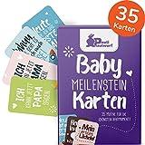 Baby Meilenstein-Karten für das 1. Lebensjahr - 35 liebevoll gestaltete Karten - Ideal als Geschenk zur Geburt, Schwangerschaft, Taufe - Geschenkset für Junge und Mädchen - Milestone Cards DEUTSCH