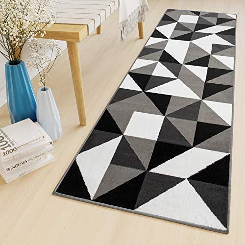 Tapiso Luxury Tapis de Couloir Salon Chambre des Jeunes Moderne Gris Noir Blanc Géométrique Mosaïque Triangles 100 x 130 cm