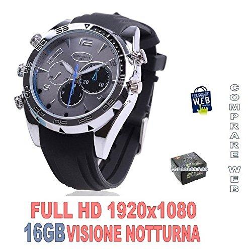 Reloj espía 16GB con cámara videocámara silicona negro Full HD infrarrojos Night Vision Spy Cam cw76Comprare web