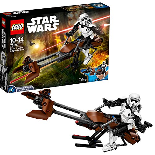 LEGO- Star Wars Scout Trooper E Speeder Bike con straction Costruzioni Piccole, Multicolore, 75532