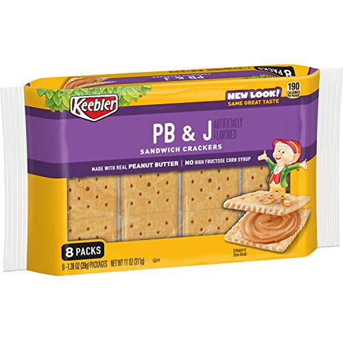Keebler Sandwich Crackers, Single Serve Snack Crackers, Office and Kids Snacks, PB and J, 11oz Tray (8 Packs)