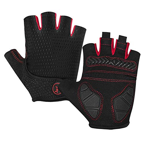 MOREOK Mens Cycling Gloves,Half Finger Biking Glove MTB DH Road Bicycle Gloves Gel Pad Shock-Absorbing Anti-Slip Breathable Motorcycle Mountain Bike Gloves Unisex Women AK098-Black-XL