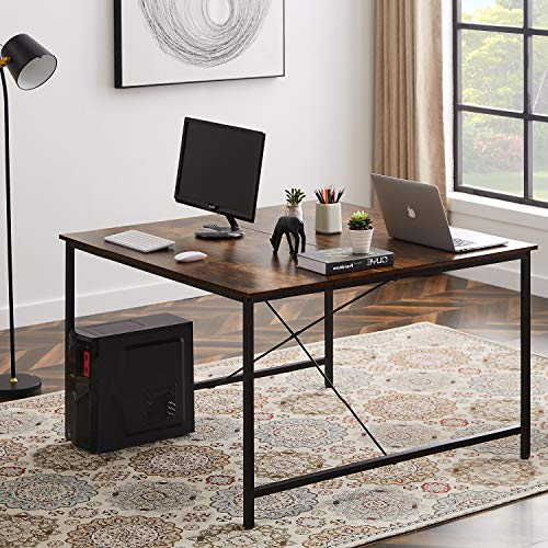 Merax 47 x 47 inch Two Person Double Workstation, 2 People Office Writing Desk, Brown