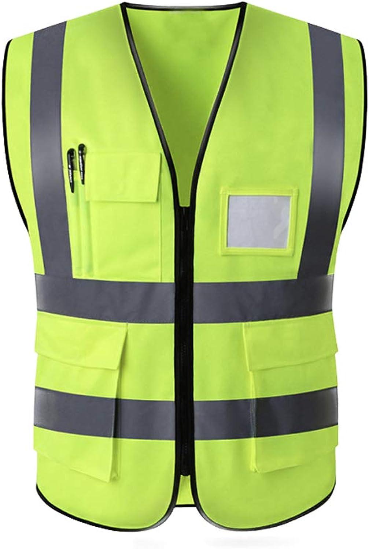 576c0e0b01185 Safety Vest Men's Pocket Zipper Zipper Zipper High Visibility ...