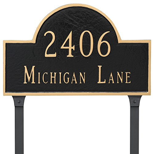 "Montague Metal 10.5"" x 16.5"" Classic Arch Two Line Address Sign Plaque with Lawn Stakes, Standard, Black/Gold"