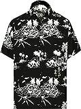 LA LEELA Men's Hippie Palm Tree Casual Short Sleeve Aloha Hawaiian Shirt M Black_W419