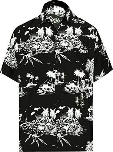 LA LEELA   Funky Camicia Hawaiana da Uomo   XS - 7XL   Maniche Corte   Tasca Frontale   Stampa Hawaiana   Estivo Estate Spiaggia Palme Nero_W419 XL - Torace (in CMS) : 121-132