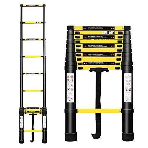 wolktoen 3.2m Escalera Telescópica de Aluminio Escalera Extensible, Escalera Multipropósito Portátil Escalera Plegable para Trabajo en Interiores y Exteriores Carga Máxima 150 kg- Negro