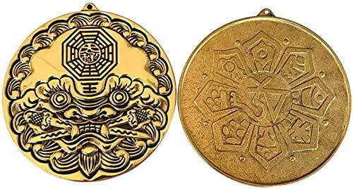 Home Art Decor Crafts Chino bagua espejo cobre tigre cabeza león espada espada espada colgar piezas chisme mascot shoutou bagua espejo decoración del hogar artesanía feng shui convex bagua espejo con