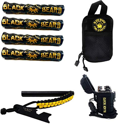 Black Beard Pirate's Plunder Fire Starter Kit with Waterproof Plasma Arc Lighter, Ferro Rod & Fire Starter Rope   Fast Lighting Fire Starter Kit for Campfires in All-Weather Waterproof & Windproof