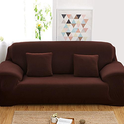 Reelva Sofa Cover Slipcover Easy Stretch Fit Elastic Fabric Couch Sofa Protector Slip Cover Washable (2 Seater, Chocolate)