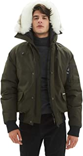 Mens Bomber Jacket, Winter Fashion Hooded Classic Down Alternative Flight Windbreaker Jacket
