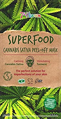 Superfood Cannabis Sativa Peel-Off Mask by 7th Heaven | Calming Vegan Mask with Stimulating Turmeric & Hemp Seed Oil. Blackhead Removing | Deep Pore Cleansing & Soothing - Suitable for Men & Women