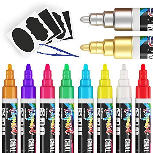 Liquid Chalk Markers for Blackboard - Set of 10 Washable Chalk Pens for Chalkboard Signs Windows Glass Black Board-24 Chalkboard Labels Included - 6mm Reversible Tip