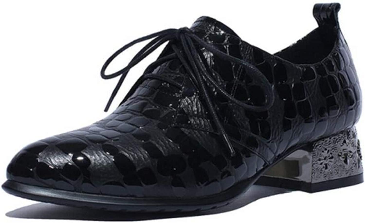 Women's shoes Brogue Stone Pattern Pointed Toe Lace-up shoes Autumn