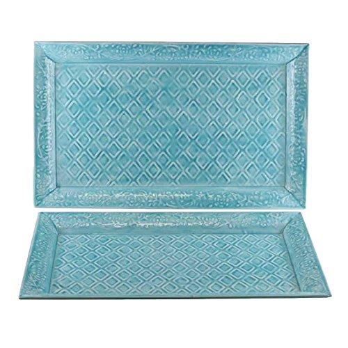 Better & Best Set de 2 bandejas de Hierro esmaltado rectangulares, Planas, con Relieve de Rombos, Fundido, Azul, 46 cm, 2 Unidades