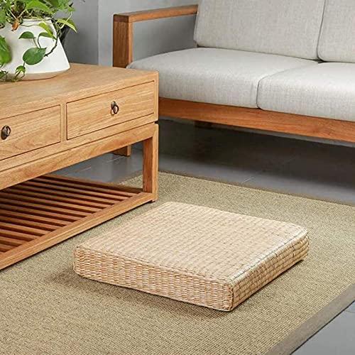 Japansk halm Tatami golvkudde, handgjord fyrkantig meditationskudde, stickad futon zabuton för yoga...