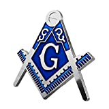 Symbolic Square & Compass Masonic Car Emblem Silver & Blue Auto Decal
