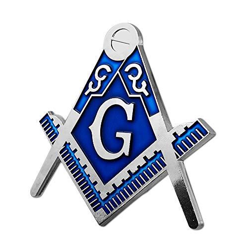 상징적 인 광장&나침반 프리메이슨 자동차 엠블럼 실버&블루 자동 데칼