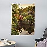 ABAKUHAUS Giapponese Tappeto da Parete e Copriletto, Giardino Asia Pace, più Tecnologia Moderna Digitale, 110 x 150 cm, Verde Giallo